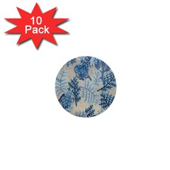 Flowers Blue Patterns Fabric 1  Mini Buttons (10 Pack)  by Nexatart