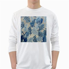 Flowers Blue Patterns Fabric White Long Sleeve T Shirts
