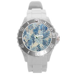 Flowers Blue Patterns Fabric Round Plastic Sport Watch (l) by Nexatart