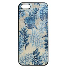 Flowers Blue Patterns Fabric Apple Iphone 5 Seamless Case (black)