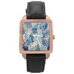 Flowers Blue Patterns Fabric Rose Gold Leather Watch