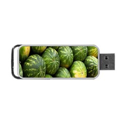 Food Summer Pattern Green Watermelon Portable Usb Flash (one Side) by Nexatart