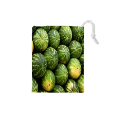 Food Summer Pattern Green Watermelon Drawstring Pouches (small)
