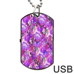 Flowers Abstract Digital Art Dog Tag Usb Flash (two Sides)