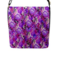 Flowers Abstract Digital Art Flap Messenger Bag (l)