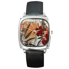Fall Colors Square Metal Watch by Nexatart