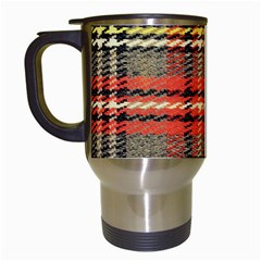 Fabric Texture Tartan Color Travel Mugs (white)