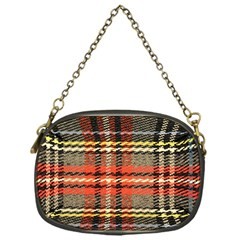 Fabric Texture Tartan Color Chain Purses (one Side)