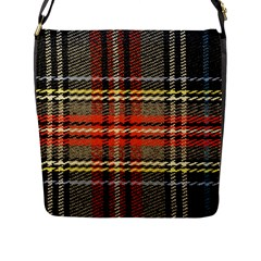 Fabric Texture Tartan Color Flap Messenger Bag (l)