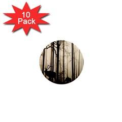 Forest Fog Hirsch Wild Boars 1  Mini Buttons (10 Pack)  by Nexatart