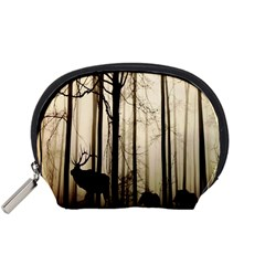 Forest Fog Hirsch Wild Boars Accessory Pouches (small)  by Nexatart