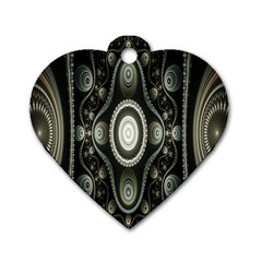 Fractal Beige Blue Abstract Dog Tag Heart (one Side) by Nexatart