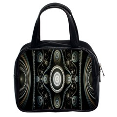 Fractal Beige Blue Abstract Classic Handbags (2 Sides)