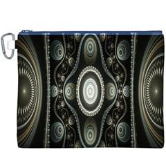 Fractal Beige Blue Abstract Canvas Cosmetic Bag (xxxl) by Nexatart