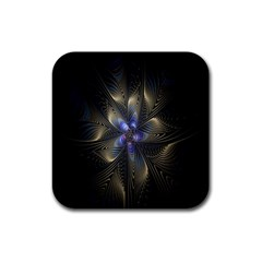 Fractal Blue Abstract Fractal Art Rubber Coaster (square)