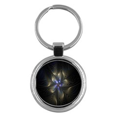 Fractal Blue Abstract Fractal Art Key Chains (round)  by Nexatart