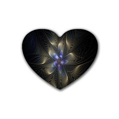 Fractal Blue Abstract Fractal Art Rubber Coaster (heart)  by Nexatart