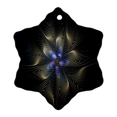 Fractal Blue Abstract Fractal Art Snowflake Ornament (two Sides) by Nexatart