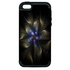 Fractal Blue Abstract Fractal Art Apple Iphone 5 Hardshell Case (pc+silicone)