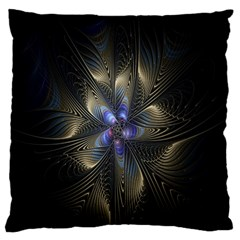 Fractal Blue Abstract Fractal Art Large Flano Cushion Case (one Side)