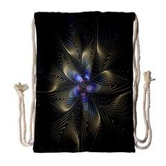 Fractal Blue Abstract Fractal Art Drawstring Bag (large) by Nexatart
