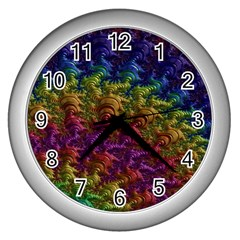 Fractal Art Design Colorful Wall Clocks (silver)