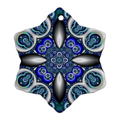 Fractal Cathedral Pattern Mosaic Snowflake Ornament (two Sides) by Nexatart