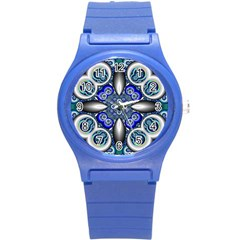 Fractal Cathedral Pattern Mosaic Round Plastic Sport Watch (s) by Nexatart
