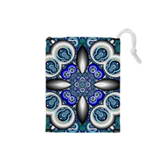 Fractal Cathedral Pattern Mosaic Drawstring Pouches (small)