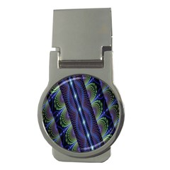 Fractal Blue Lines Colorful Money Clips (round)  by Nexatart