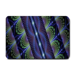 Fractal Blue Lines Colorful Small Doormat