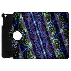 Fractal Blue Lines Colorful Apple Ipad Mini Flip 360 Case by Nexatart