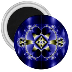 Fractal Fantasy Blue Beauty 3  Magnets