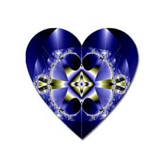Fractal Fantasy Blue Beauty Heart Magnet by Nexatart