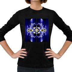 Fractal Fantasy Blue Beauty Women s Long Sleeve Dark T Shirts