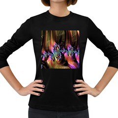 Fractal Colorful Background Women s Long Sleeve Dark T Shirts