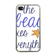 The Beach Fixes Everything Apple Iphone 4 Case (clear) by OneStopGiftShop