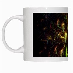 Fractal Flame Light Energy White Mugs