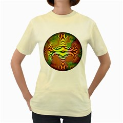 Fractals Ball About Abstract Women s Yellow T Shirt