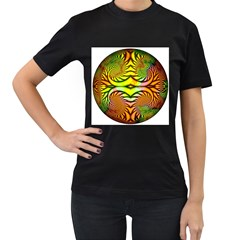 Fractals Ball About Abstract Women s T Shirt (black) (two Sided)