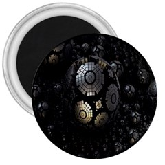 Fractal Sphere Steel 3d Structures 3  Magnets by Nexatart