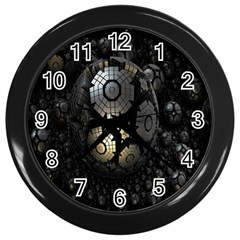 Fractal Sphere Steel 3d Structures Wall Clocks (black)