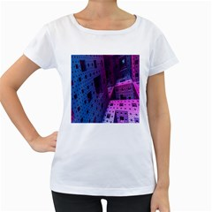 Fractals Geometry Graphic Women s Loose Fit T Shirt (white)