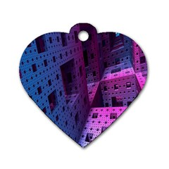 Fractals Geometry Graphic Dog Tag Heart (one Side)