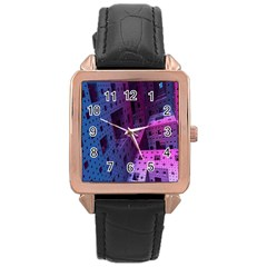 Fractals Geometry Graphic Rose Gold Leather Watch