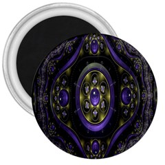Fractal Sparkling Purple Abstract 3  Magnets by Nexatart