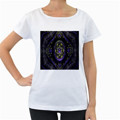 Fractal Sparkling Purple Abstract Women s Loose Fit T Shirt (white)