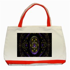 Fractal Sparkling Purple Abstract Classic Tote Bag (red) by Nexatart