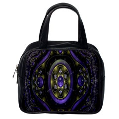 Fractal Sparkling Purple Abstract Classic Handbags (one Side)