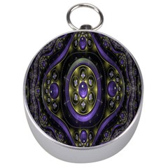 Fractal Sparkling Purple Abstract Silver Compasses by Nexatart